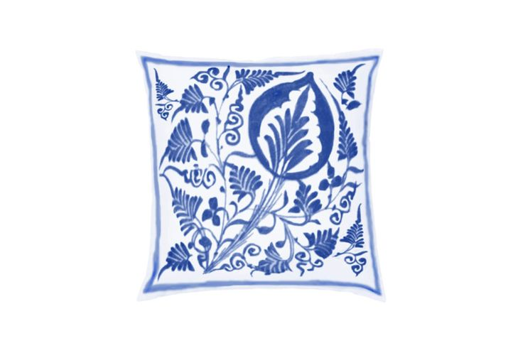 Blue and White Edirne Throw Pillow by Castara Designs. Our new Iznik inspired range of decorative cushions for 2016. Launching at Pulse London