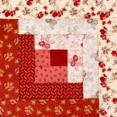 Easy Log Cabin Tutorial by http://quiltingstories.blogspot.com/2014/08/easy-log-cabin-tutorial-block-red-pink-beige.html