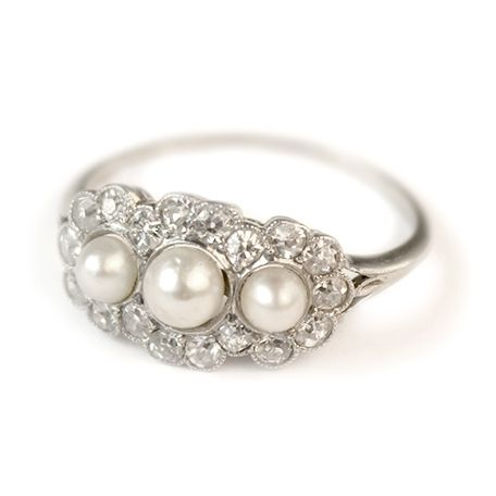 Alice Pearl and Diamond Vintage Engagement Ring circa 1910