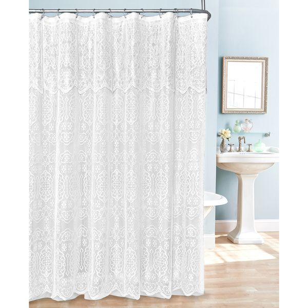 This beautiful white lace shower curtain has a delicate attached scalloped valance, matching scalloped bottom, and includes 12 plastic rings. These shower curtains include a white lace shower curtain