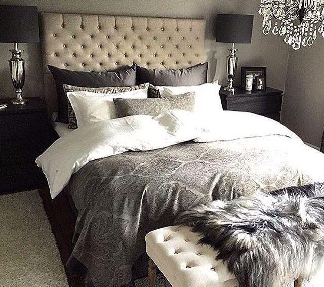 I love our dark bedding
