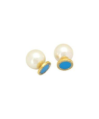 Pearl & Cubic Zirconia Double-Sided Earrings #zulily #zulilyfinds