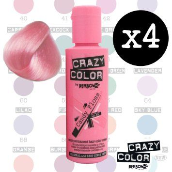 Crazy Colour Semi Permanent Hair Dye By Renbow Candy Floss No.65 (100ml) Box of 4: Amazon.co.uk: Beauty