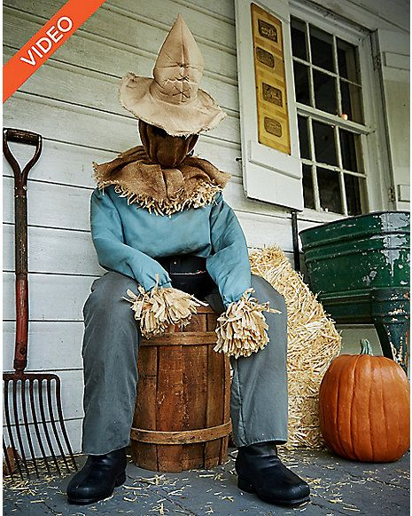 4.5 Ft Sitting Scarecrow Animatronics - Decorations - Spirithalloween.com