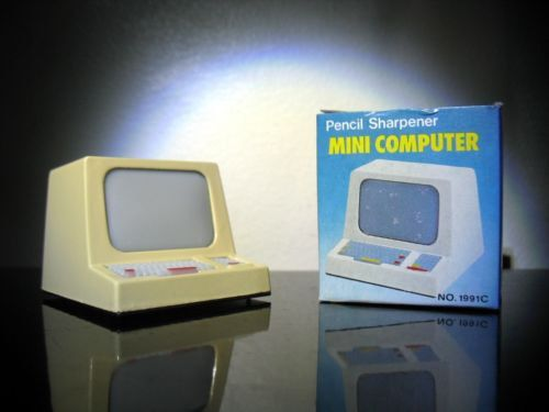 Vintage NOS New old stock Mini Computer Pencil sharpener with Box    Outer casing is die cast , miniature.    Not dated but most likely from