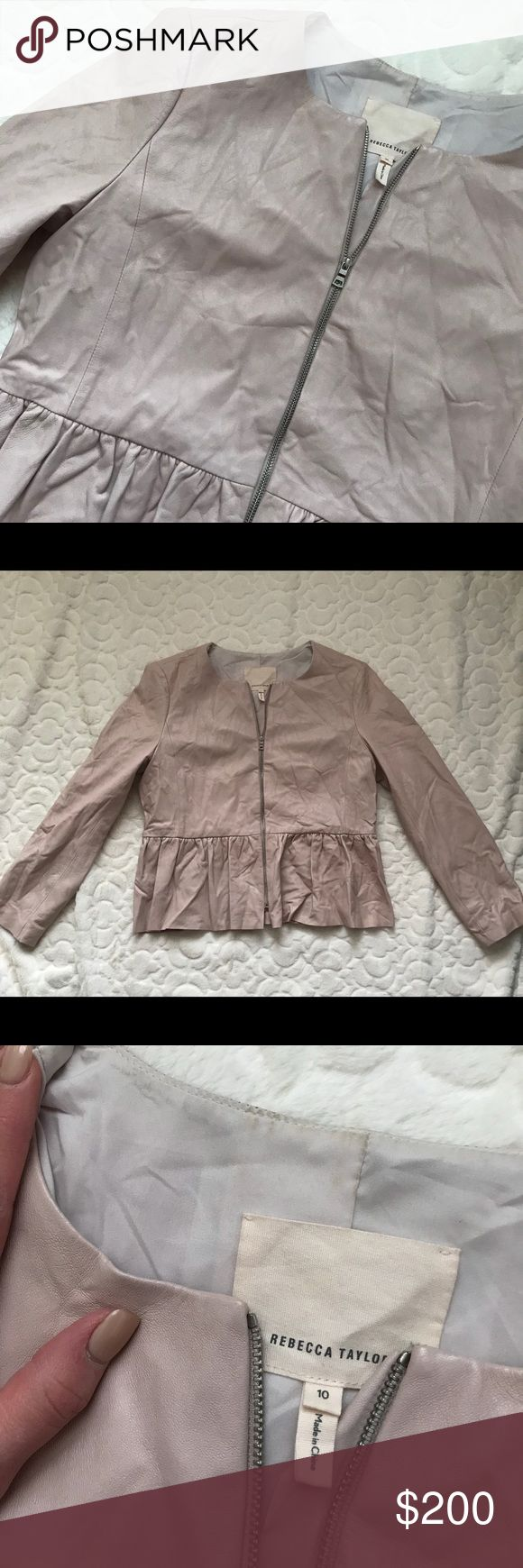 Rebecca Taylor Lamb Leather peplum jacket Authentic Rebecca Taylor Peplum Jacket 100% Lamb Leather Flaws: 2 small holes under armpit (pictured) Discoloration inside jacket at collar (pictured) Discoloration of suede lining inside jacket (pictured) Jacket is sold AS IS. This item is damaged.   Retail price $995 Rebecca Taylor Jackets & Coats