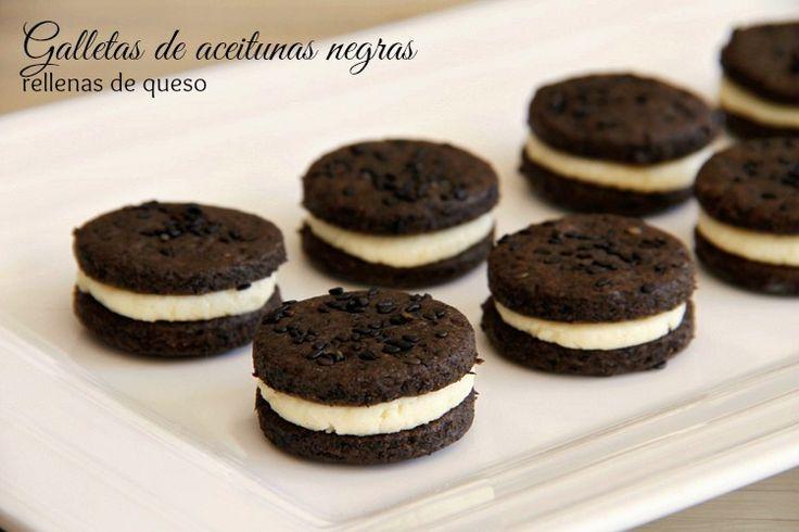 Galletas de aceitunas negras rellenas de queso - MisThermorecetas