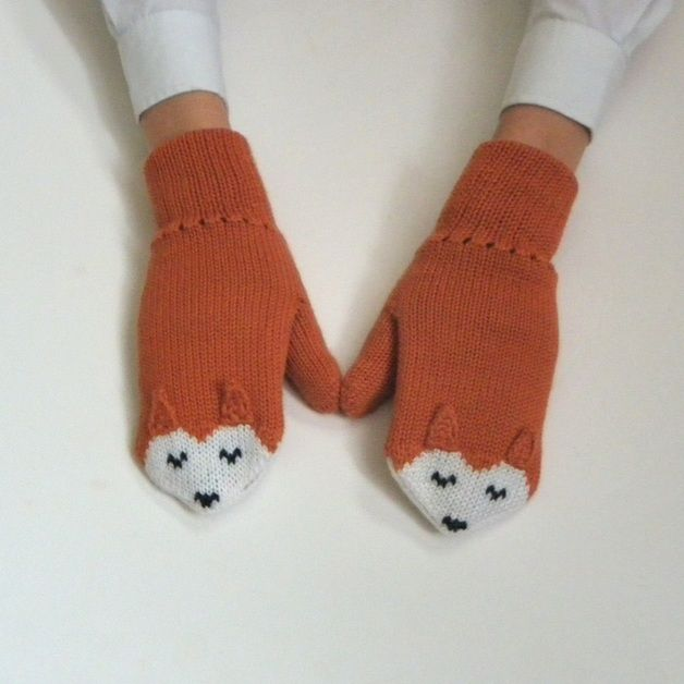 via en.dawanda.com Gloves – Kids fox gloves knitted child mittens SIZE:7-8Y – a unique product by Tuttolv on DaWanda