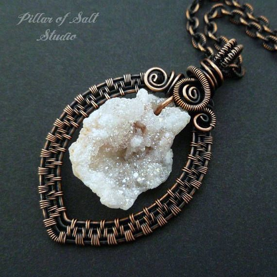 White Druzy Wire wrapped pendant necklace / Woven Wire Wrapped