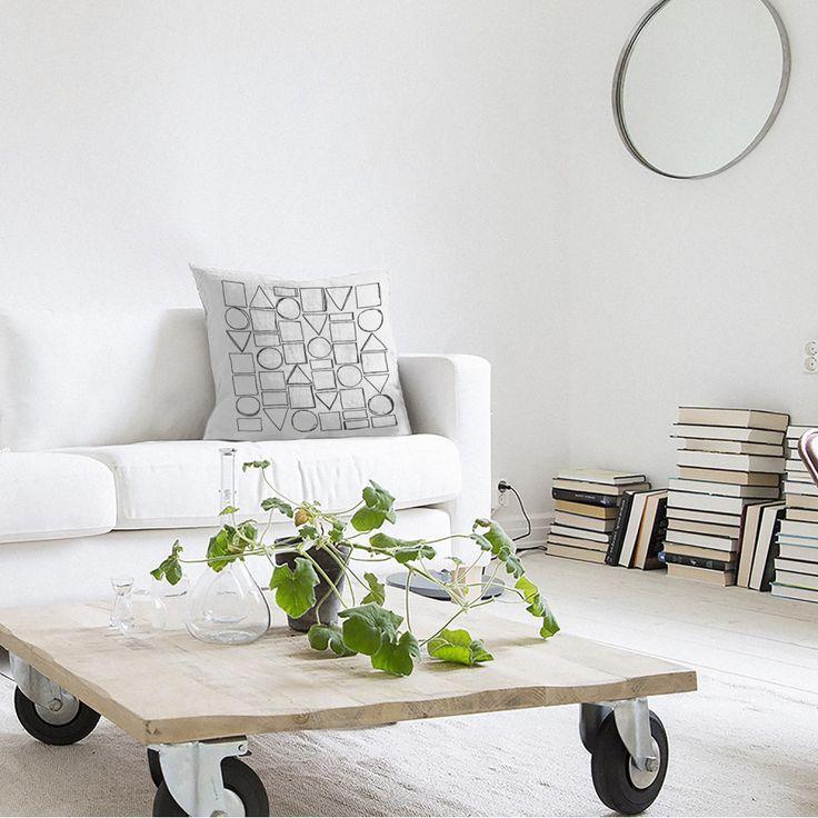 Coussin design 100 en lin blanc