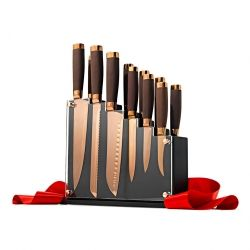 With stainless steel blades coated in rose gold titanium and rich brown handles, this 13-piece knife set is too gorgeous to keep in a drawer.