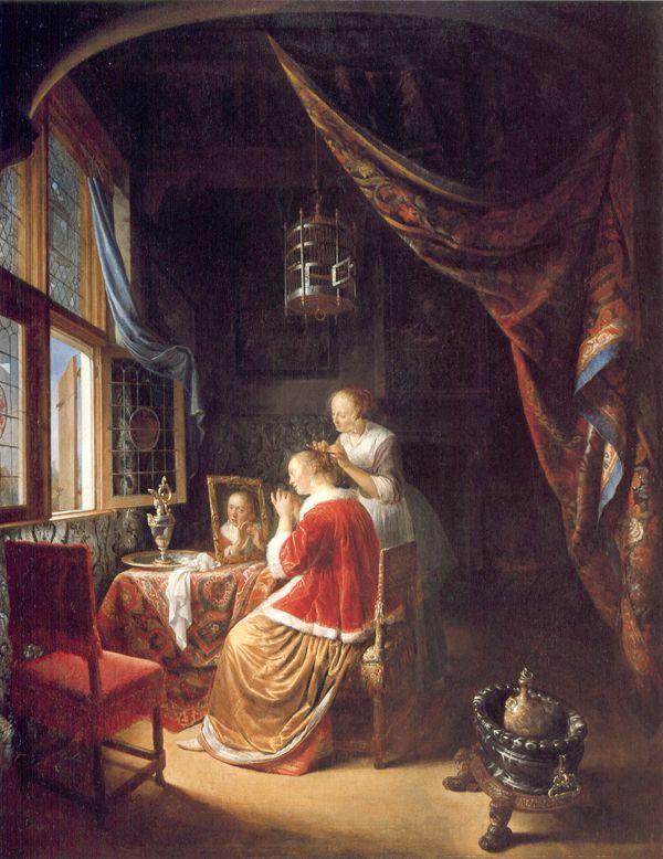 Gerrit Dou Lady At Her Toilet 1657 Renaissance Art 1400