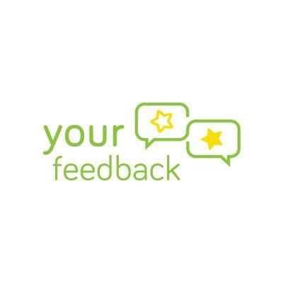 Your Feedback Logo designed by Case In Point Design Studio. Clean, modern, green, yellow, star, social media, design, digital, logo, icon, speech bubble, branding, marketing, expressive, round, inspiration, design.