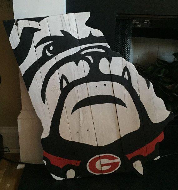 Bulldog Face on State of Georgia Pallet Wood Sign  by MillpondMoss