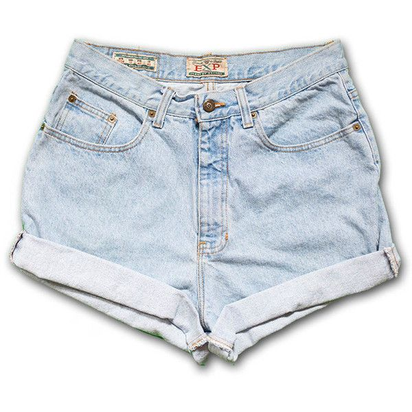 Vintage 90s Express Light Blue Wash High Waisted Rise Cut Offs Cuffed... ($24) ❤ liked on Polyvore featuring shorts, black, women's clothing, denim shorts, black high waisted shorts, jean shorts, high waisted cut off shorts and high-waisted denim shorts
