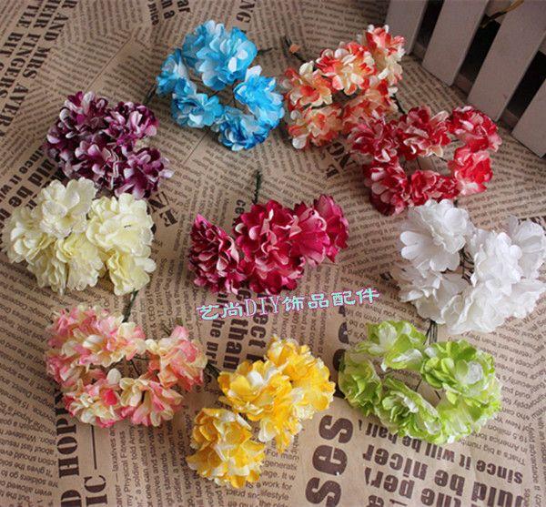 仿真手工花环材料 4cm康乃馨金粉纸花  仿真纸花 一束6朵 价格
