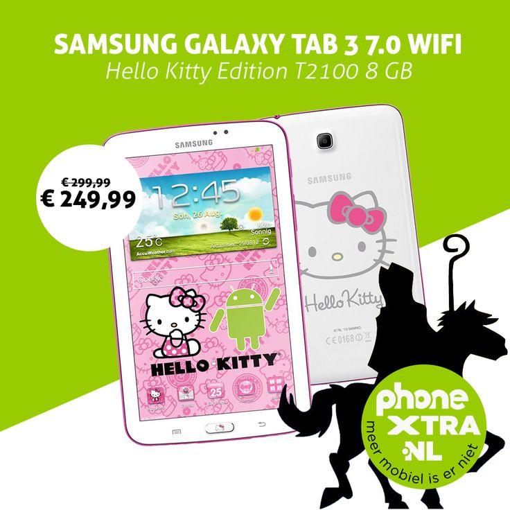 Wat staat op jouw verlanglijstje voor de Sint? Bij elke Hello Kitty fan hoort deze special edition Samsung Galaxy Tab 3 7.0 dan bovenaan te staan!   Dus alle (hulp)sinten opgelet, vandaag voor 16.00 uur besteld, morgen bezorgd. http://www.phonextra.nl/samsung-galaxy-tab-3-7-0-wifi-hello-kitty-edition-t2100-8-gb.html