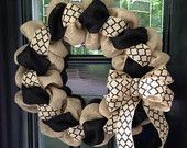 Black and Natural Quatrafoil Moroccan Burlap Wreath 22 inch for front door or accent - outdoor or indoor