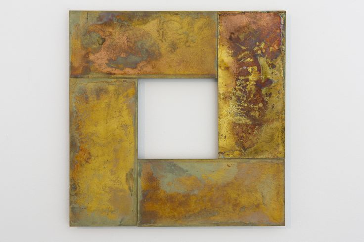 Stephen Bambury, Seven Days (II), 2014, chemical action on four brass plates, 249 x 249 mm