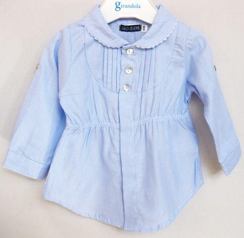Blusa de verano de niña en popelín estampado mil rayas de Girandola - Jerseys y Camisas Niño y Niña - Mundo Kiriko #modainfantil