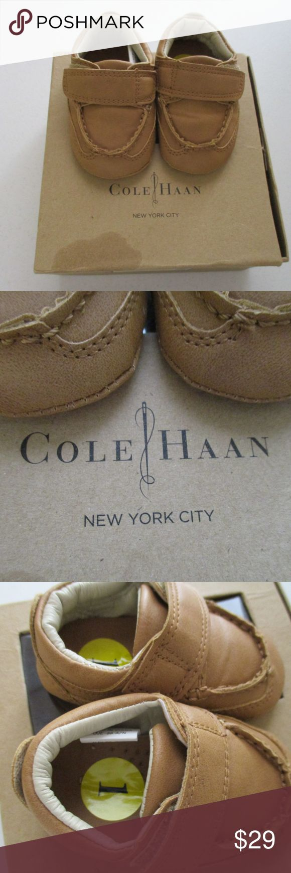 Cole Haan Baby Mini Johnny Shoes sz 1 NIB New Cole Haan infant /baby oxford driver Moccasins iin size 1 New in Box  Man made material So cute! Cole Haan Shoes Moccasins