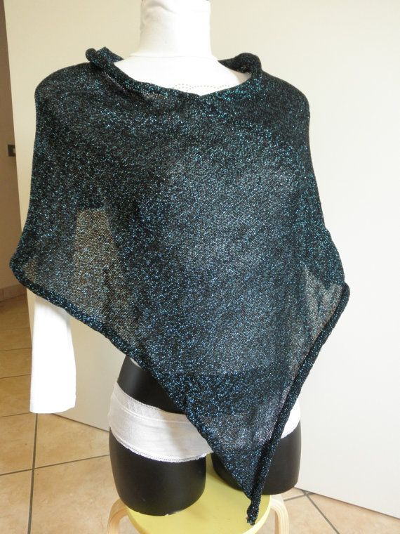Black and pale blue ponchobrilliant ponchoblack and by megghyshop