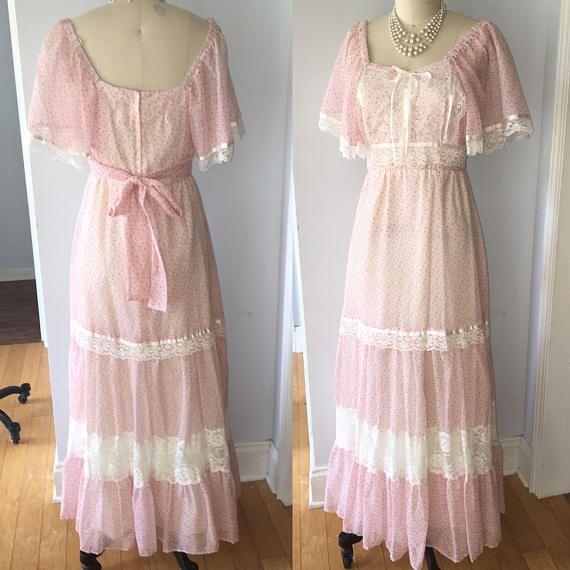 Vintage 70s Gypsy Ruffle Dress  small