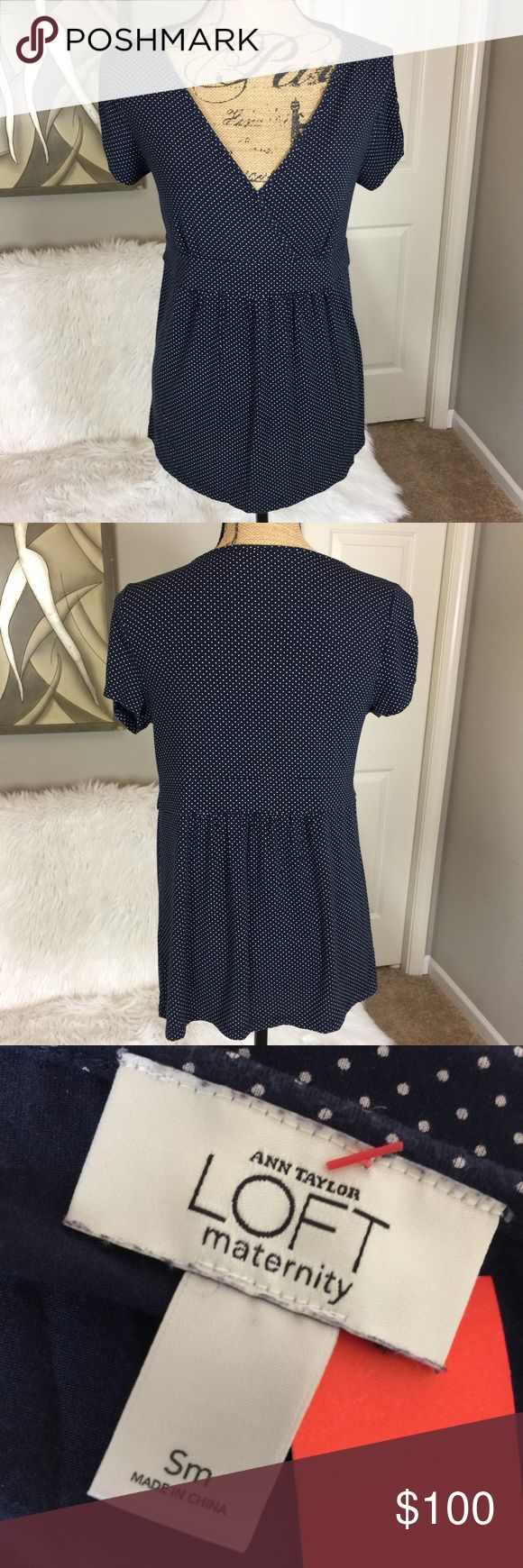 "•• LOFT Ann Taylor • Maternity Polka Dot Blouse Super soft women's maternity blouse in size small. Because of its stretch fit it could accommodate a range of sizes depending on how you want it to fit. I typically wear a medium or large and it fit me perfectly. Color is a fun blue and white polka dot pattern. Overall item is in good used condition.  Measurements (Approx) Pit to Pit: 16"" Length: 24"" Sleeve: 8""  Material Makeup: 93% Rayon 7% Spandex  Comes from a pet free smoke free home. LOFT…"