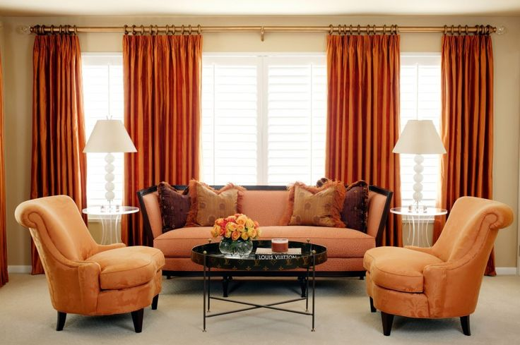 luxury orange curtains drapes and window treatments  | ... Orange Lounge Chairs And Oval Coffee Table Also Orange Curtains For A Transitional Look....Cherie