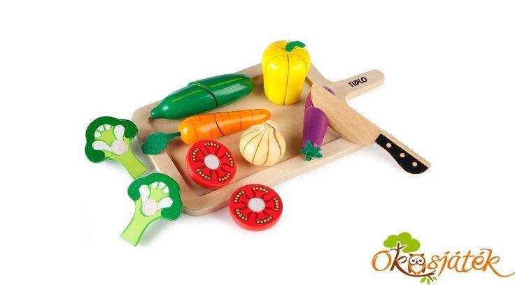 Szeletelhető zöldségek játék fából JC T-0215 ((JC)