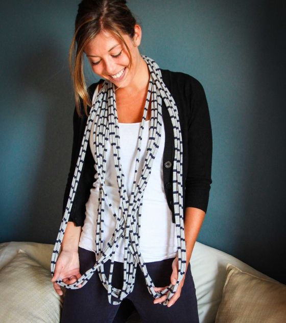 Grey & Navy T-Shirt Necklace / Scarf that can be worn in so many different ways. Shop at www.wave2africa.com
