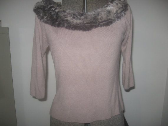 Vintage suéter gris con ropa de cuello de piel sintética