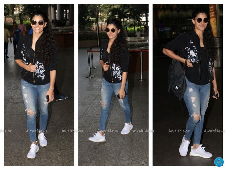 Saiyami Kher Stills In Black Jacket At Airport