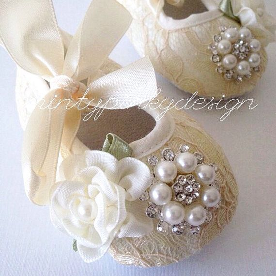Ivory Baby girl crib shoes, baby shoes, christening, baptism shoes, lace satin flower baby shoes, toddler shoes, newborn girl shoes on Etsy, $16.00