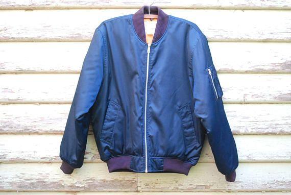 70s Flight Bomber Jacket Navy Blue Vintage Mens Unisex Grunge Etsy Flight Bomber Jacket Bomber Jacket Jackets