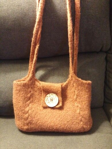 Knitted felted purse