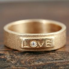 14K Gold LOVE Ring with Diamond