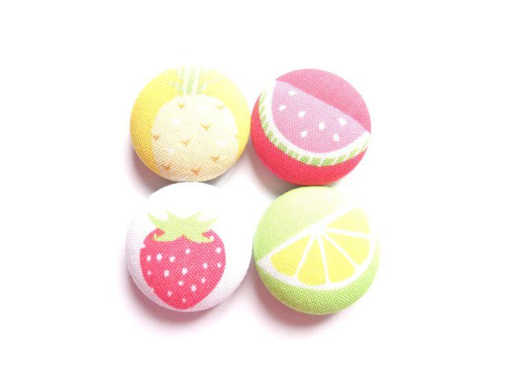 Summer Fruit Magnets, Fridge Magnets, Refrigerator Magnets, Kitchen Magnets, Red Magnets, Yellow Magnets, Green Magnets, Hostess Gift by BijouxMariePuce on Etsy