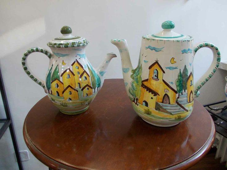 Brocca con beccuccio per il caffè ed il latte, decorate a mano, in ceramica