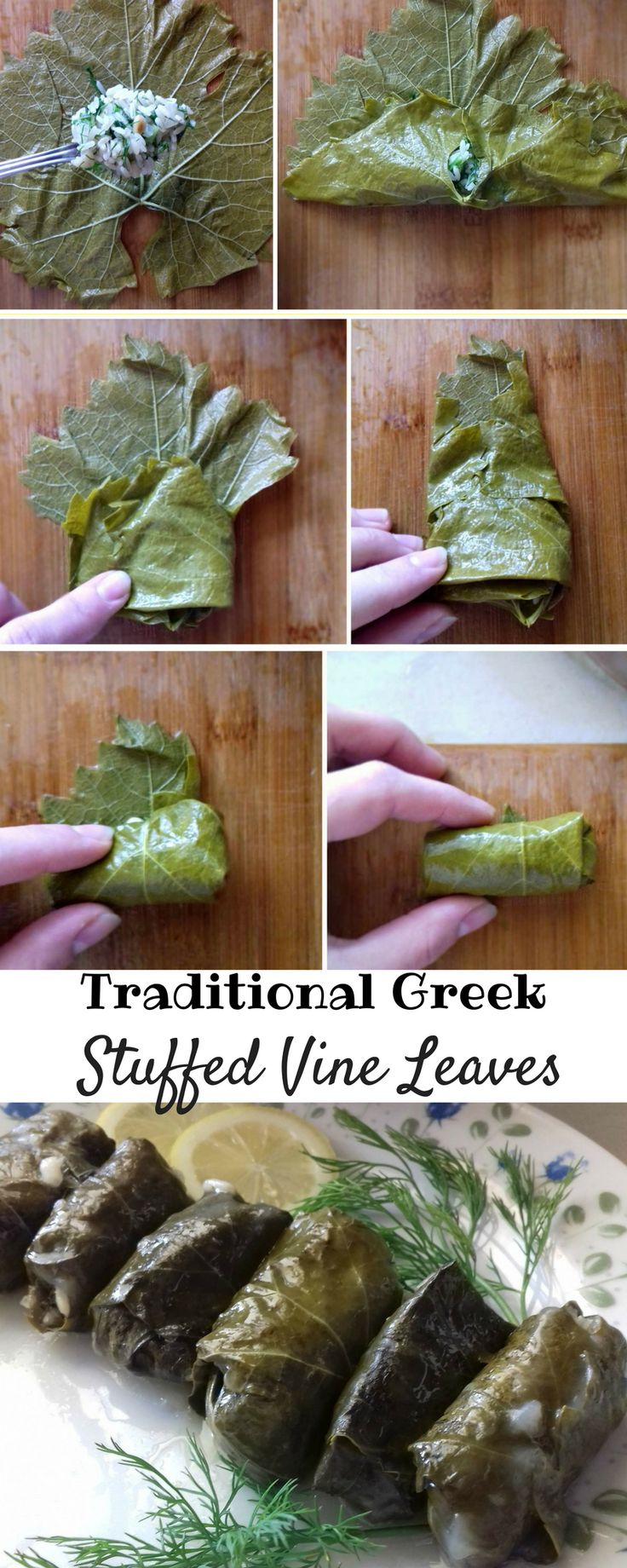 Traditional Greek Stuffed Vine Leaves is a unique and very healthy dish. #vineleaves #ricefilling #pinenuts #lemonjuice #recipe #freshherbs #vegeterian #vegan