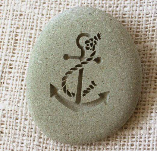 ANCHOR  Home Decor Paperweight  engraved stone by by sjengraving