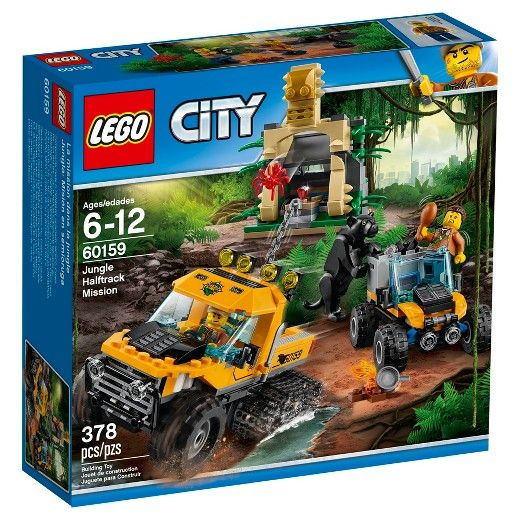 Explore what lies within the LEGO® City jungle on a Jungle Halftrack Mission, featuring a truck with tracks on the back wheels, storage space for the chain and tool elements, plus an ATV with removable crate, a buildable campfire and a buildable temple with diamond element and moveable stone that releases a spider. Includes 2 minifigures, plus panther and spider figures. <br>• Build a Half-Track Truck for tough jungle missions, along with an ATV and extra Jungle Temple...