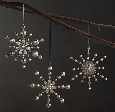 vintage beaded snowflake ornaments