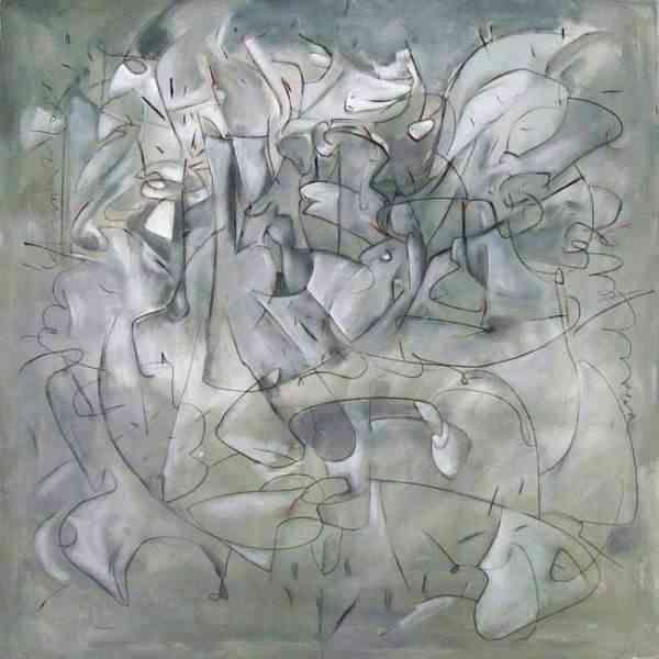 Construcción gris s/ tela: 125 x 125 cm