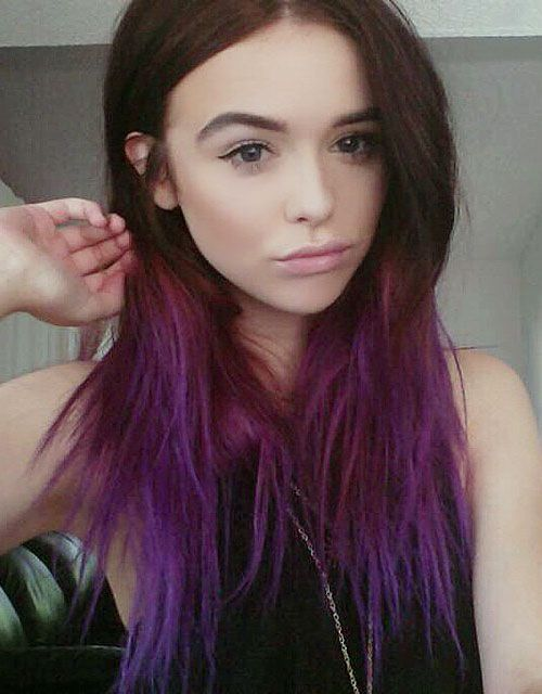 Acacia Brinley Straight Medium Brown Choppy Layers, Dip Dyed Hairstyle | Steal Her Style