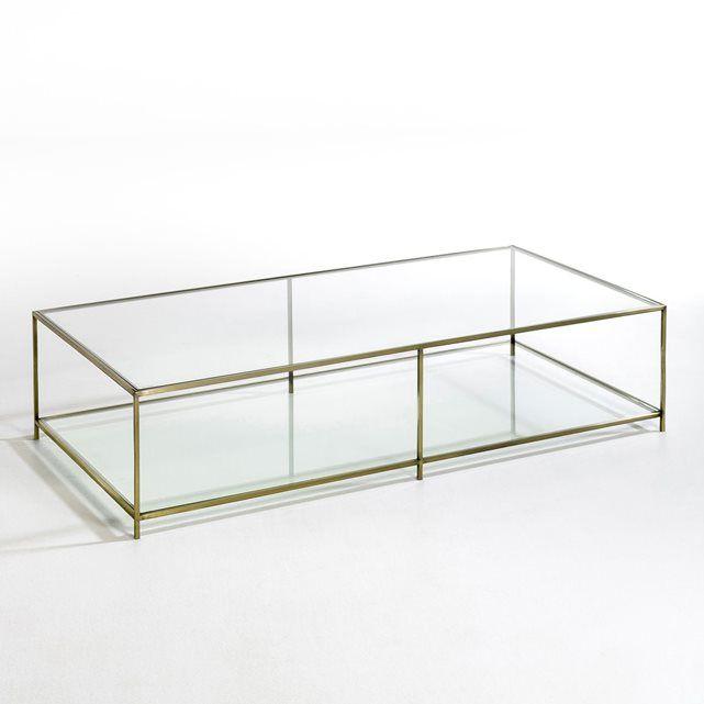 Table basse rectangulaire verre trempé, Sybil AM.PM : prix, avis & notation, livraison.  La table basse rectangulaire Sybil. Son élégance et sa transparence imposent un style tout en légèreté.Caractéristiques :- Structure en métal effet laiton vieilli- 2 plateaux en verre trempé, épaisseur 8 mm.Dimensions :- L140 x H33 x P70 cm.Dimensions et poids du colis :- L153 x H41,5 x P79,5 cm, 52,8 kg Livraison chez vous :Votre table basse sera livrée chez vous sur rendez-vous, même à l'étage !Att...
