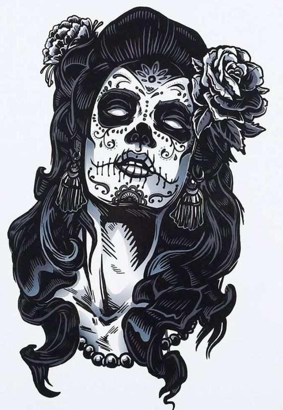 Sugar Skull Lady Black And White Temporary Tattoo Sugar Skull Tattoos Girls Temporary Tattoos Girl Tattoos