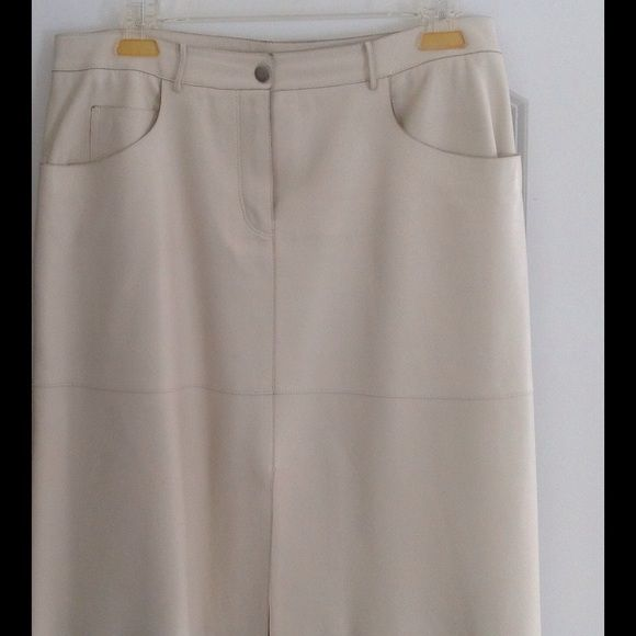 """Selling this """"Elie Tahari vintage leather skirt in off white col"""" in my Poshmark closet! My username is: belladonna888. #shopmycloset #poshmark #fashion #shopping #style #forsale #Elie Tahari #Dresses & Skirts"""