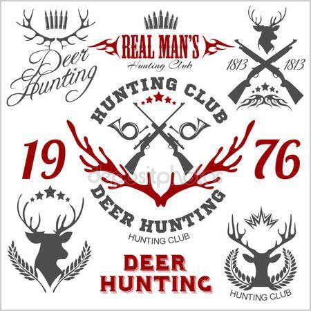 Скачать - Охота на оленя. Набор элементов дизайна логотип наклейки значки — стоковая иллюстрация #82701264