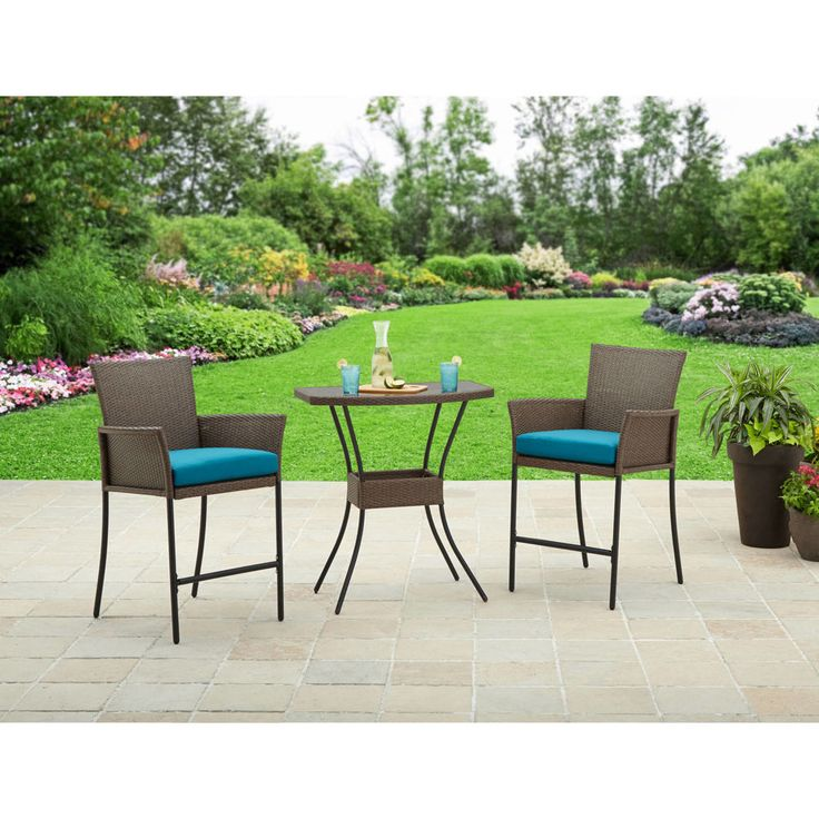3 Piece #Outdoor #Bistro #Set Bar Height High #Table And Garden #Wicker #Chairs #patiofurniture